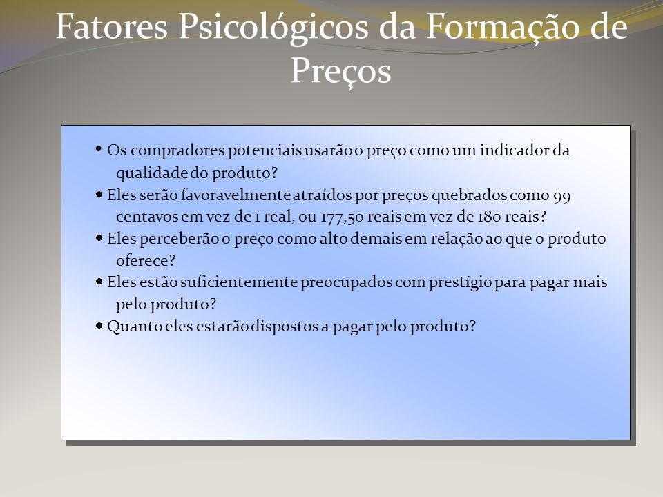 Fatores Psicológicos da Formação de Preços