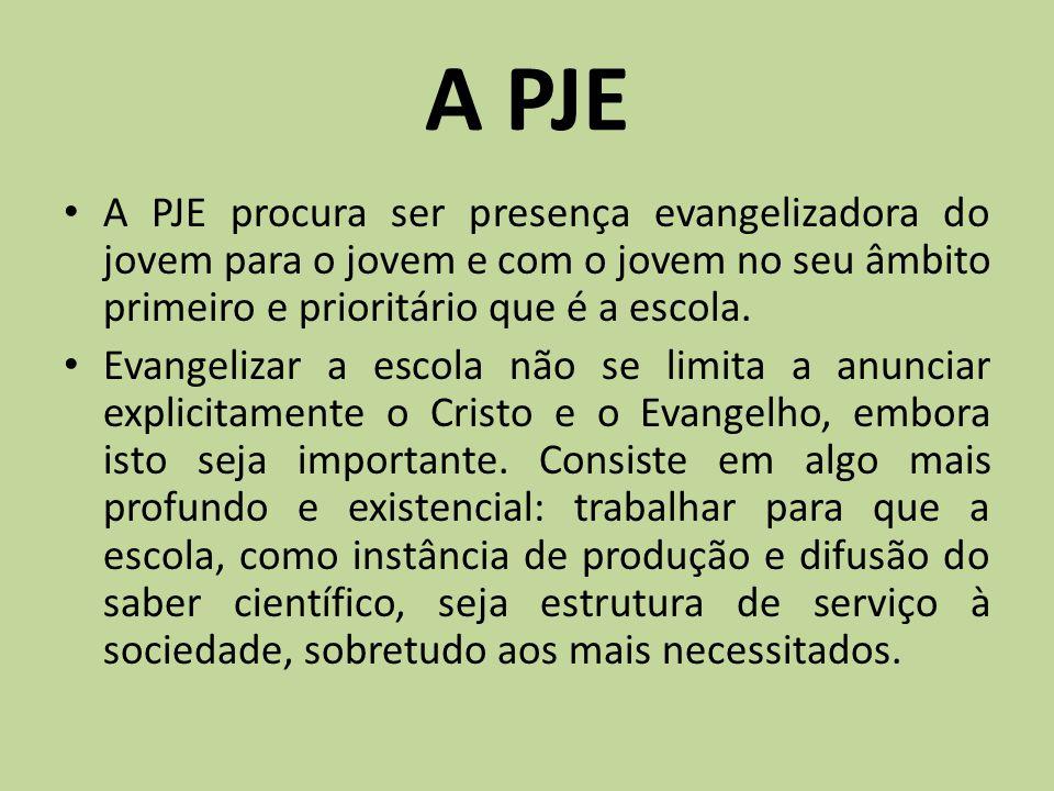 A PJE A PJE procura ser presença evangelizadora do jovem para o jovem e com o jovem no seu âmbito primeiro e prioritário que é a escola.