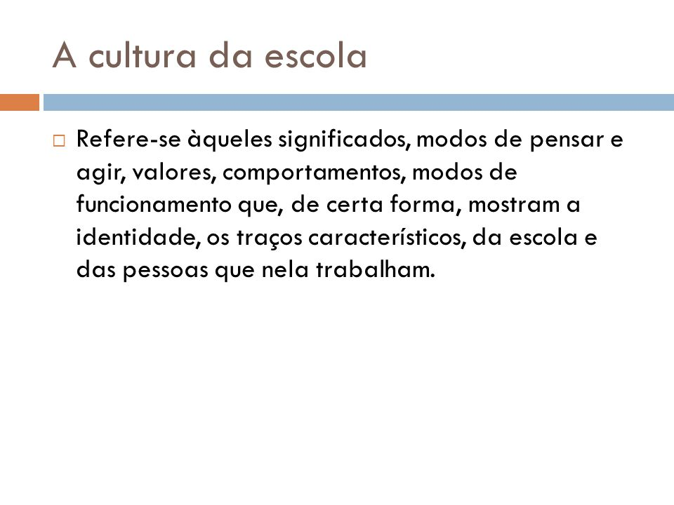 A cultura da escola