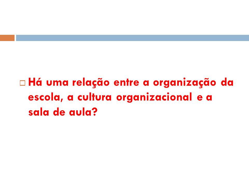 Há uma relação entre a organização da escola, a cultura organizacional e a sala de aula
