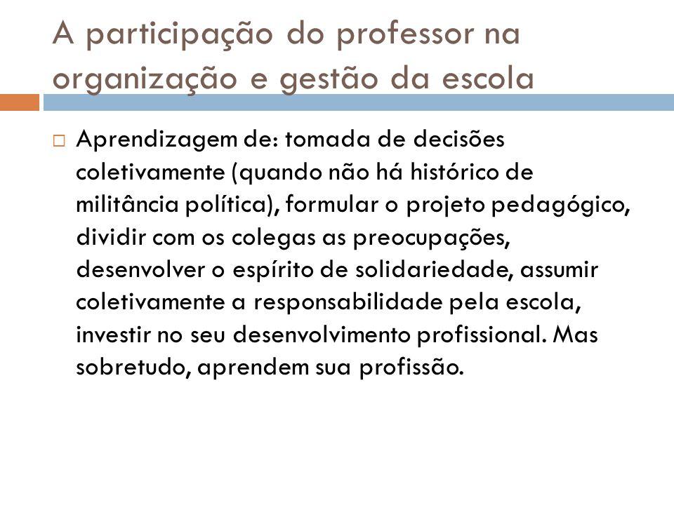 A participação do professor na organização e gestão da escola