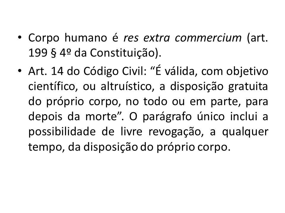 Corpo humano é res extra commercium (art. 199 § 4º da Constituição).