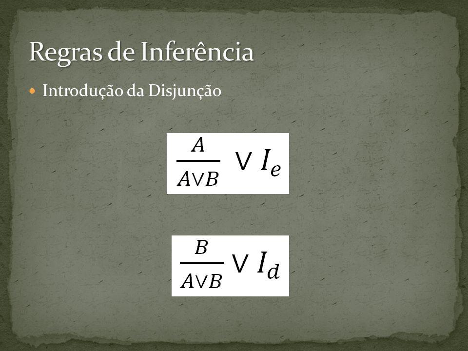 Regras de Inferência Introdução da Disjunção