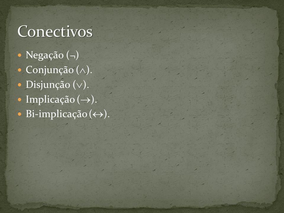 Conectivos Negação (¬) Conjunção (). Disjunção (). Implicação ().