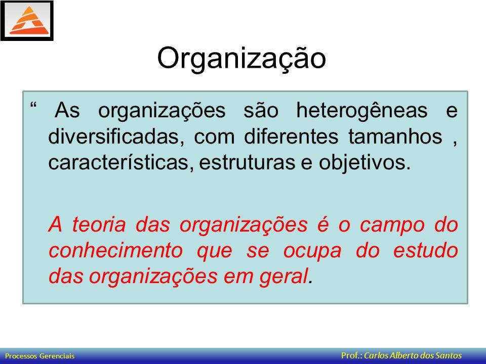 Organização As organizações são heterogêneas e diversificadas, com diferentes tamanhos , características, estruturas e objetivos.