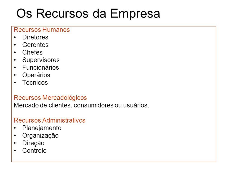 Os Recursos da Empresa Recursos Humanos Diretores Gerentes Chefes