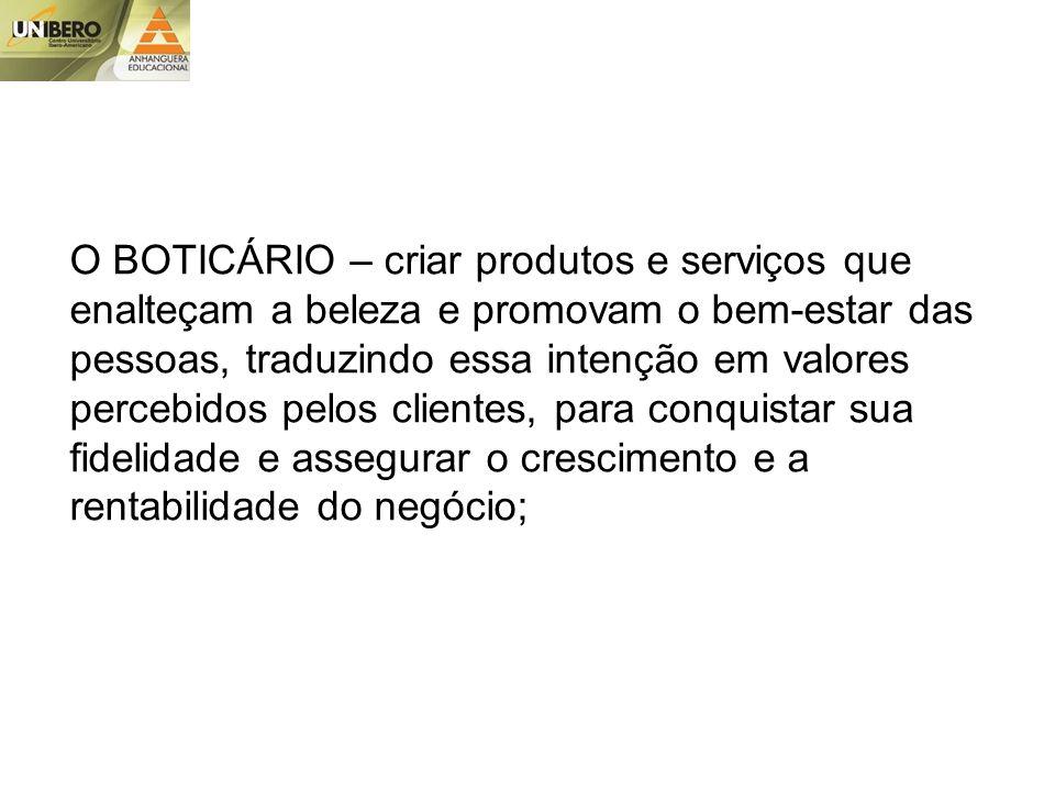 O BOTICÁRIO – criar produtos e serviços que enalteçam a beleza e promovam o bem-estar das pessoas, traduzindo essa intenção em valores percebidos pelos clientes, para conquistar sua fidelidade e assegurar o crescimento e a rentabilidade do negócio;