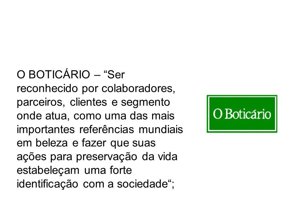 O BOTICÁRIO – Ser reconhecido por colaboradores, parceiros, clientes e segmento onde atua, como uma das mais importantes referências mundiais em beleza e fazer que suas ações para preservação da vida estabeleçam uma forte identificação com a sociedade ;