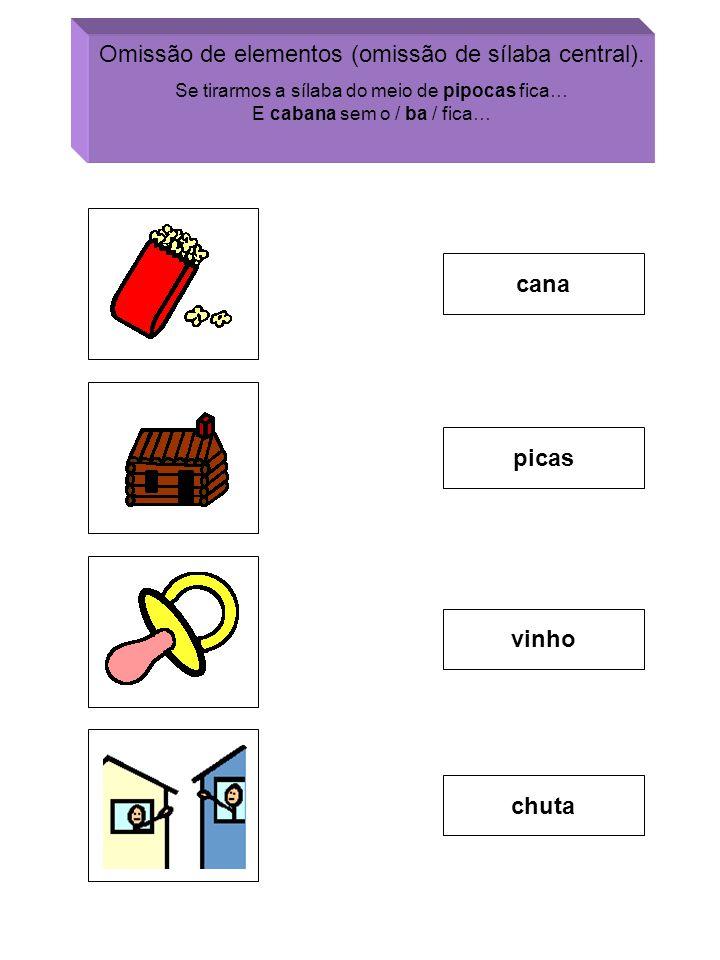 Omissão de elementos (omissão de sílaba central).