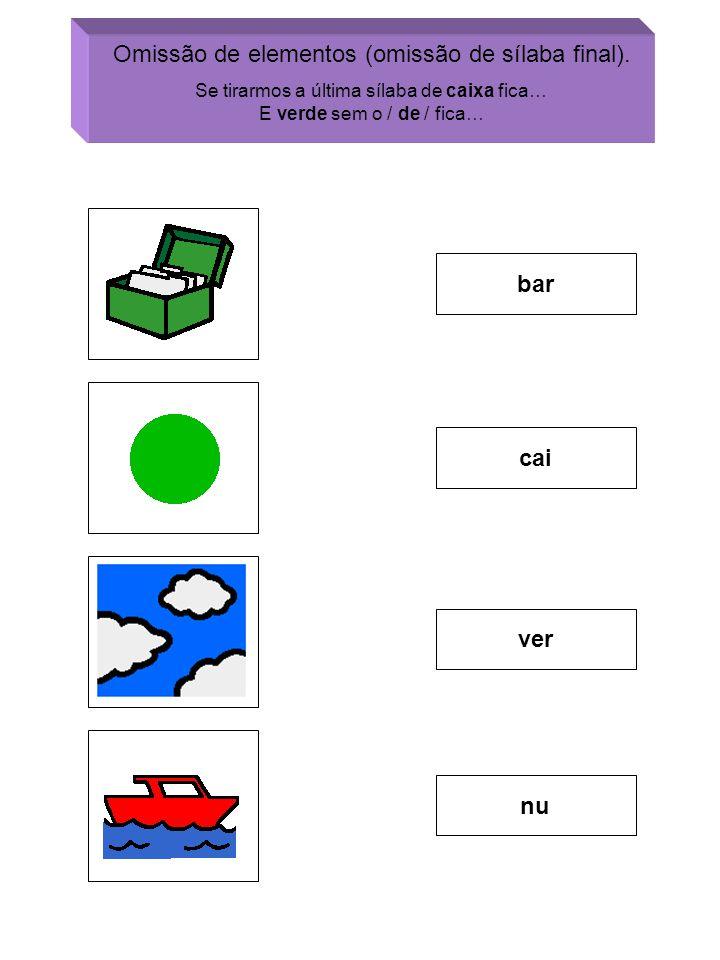 Omissão de elementos (omissão de sílaba final).