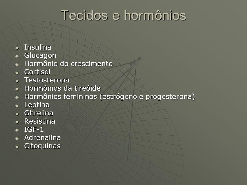 Tecidos e hormônios Insulina Glucagon Hormônio do crescimento Cortisol