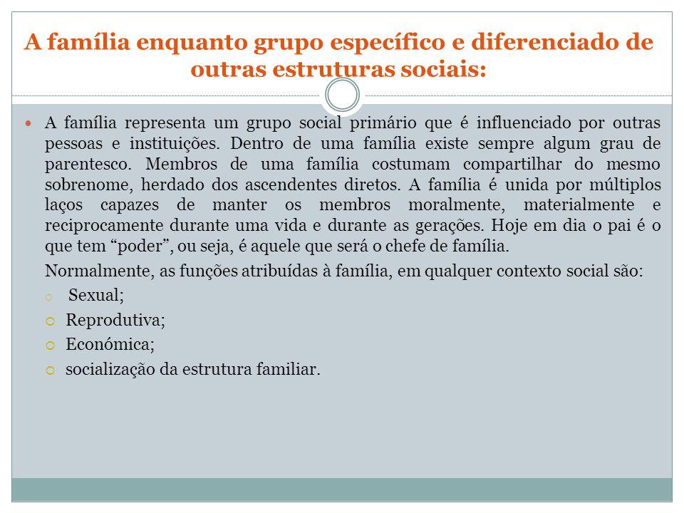 A família enquanto grupo específico e diferenciado de outras estruturas sociais:
