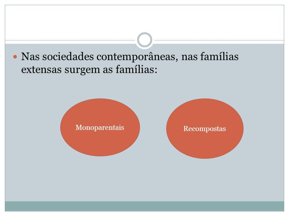 Nas sociedades contemporâneas, nas famílias extensas surgem as famílias: