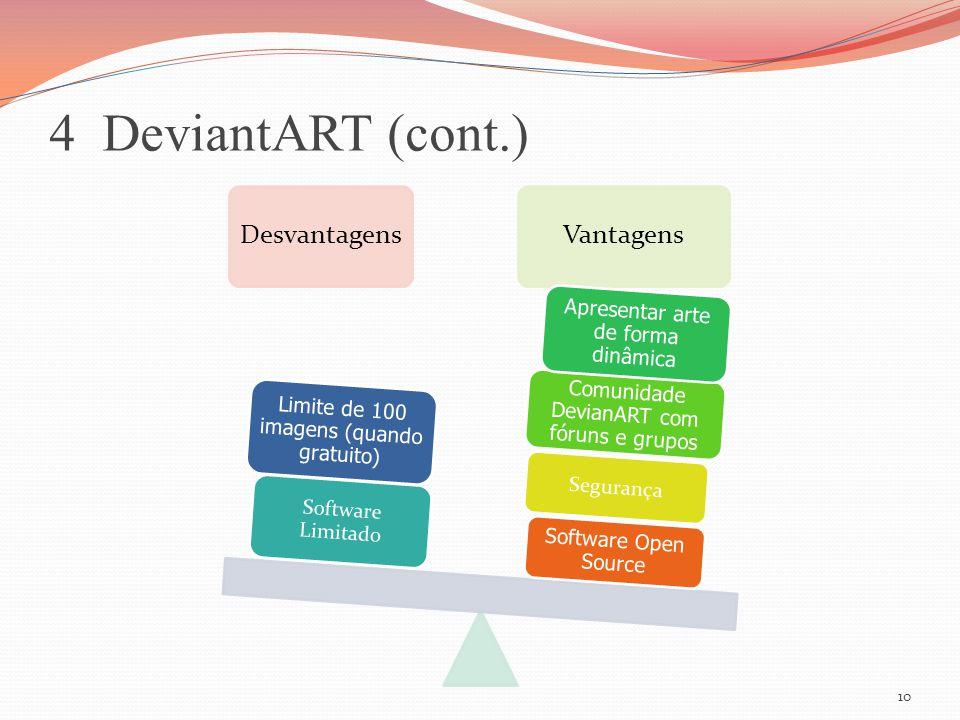 4 DeviantART (cont.) Desvantagens Vantagens