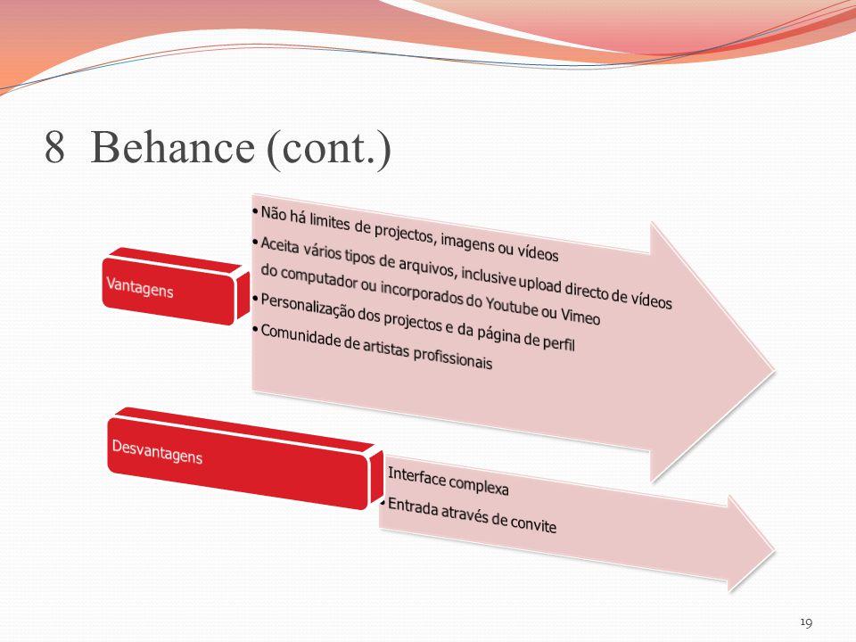 8 Behance (cont.) Não há limites de projectos, imagens ou vídeos