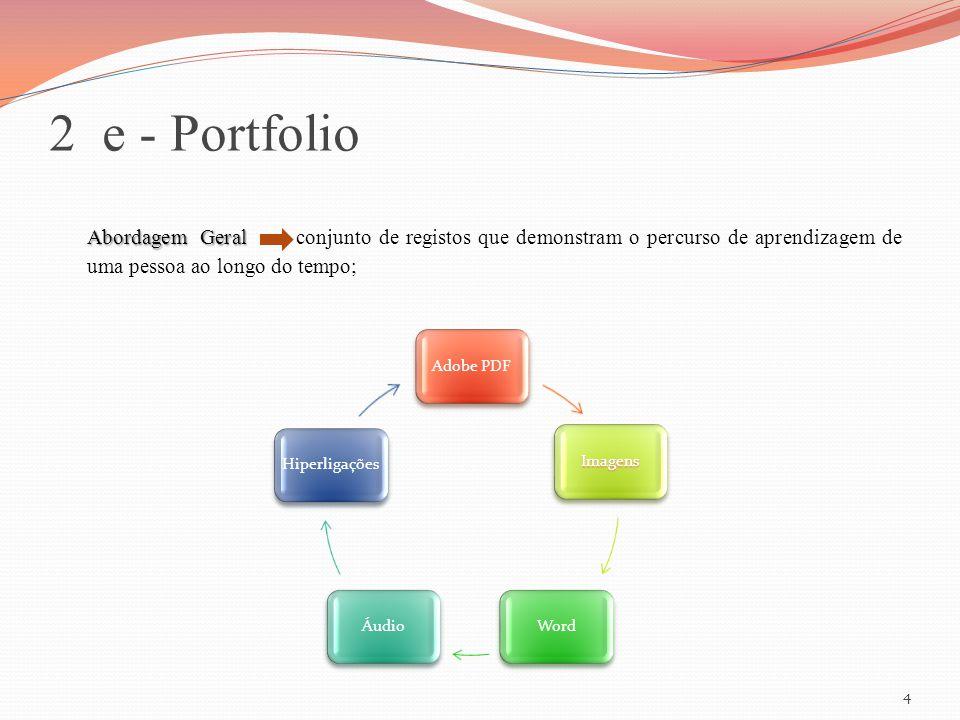 2 e - Portfolio Abordagem Geral conjunto de registos que demonstram o percurso de aprendizagem de uma pessoa ao longo do tempo;