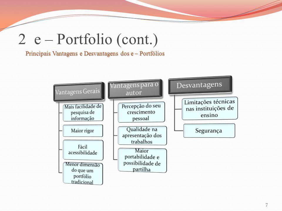 2 e – Portfolio (cont.) Vantagens para o autor Desvantagens