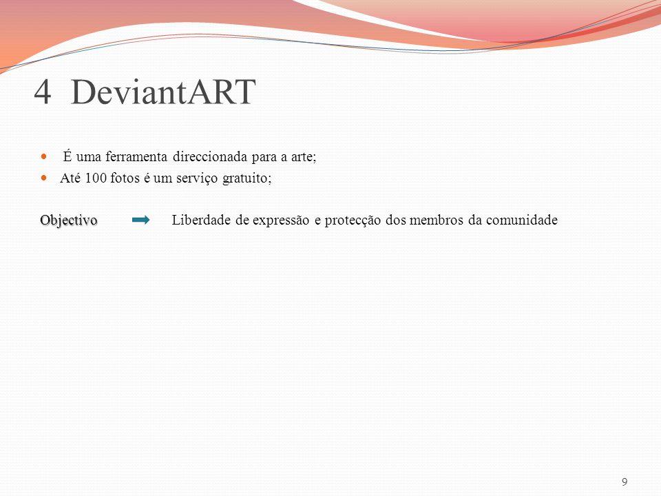 4 DeviantART É uma ferramenta direccionada para a arte;