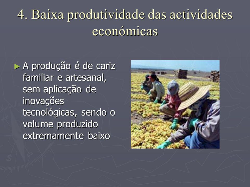 4. Baixa produtividade das actividades económicas