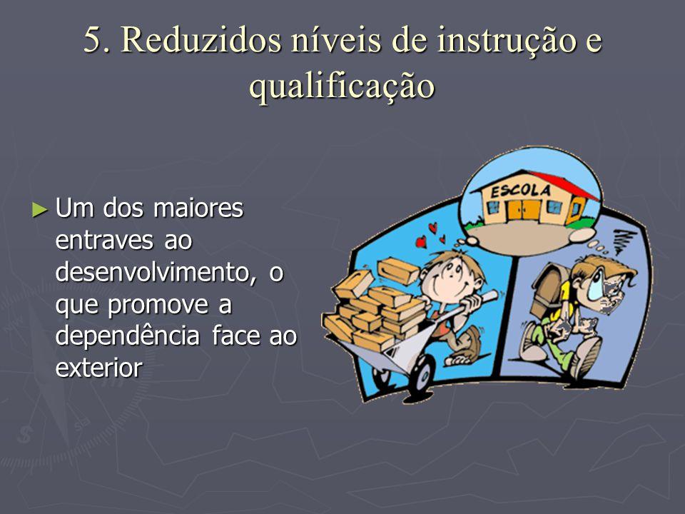 5. Reduzidos níveis de instrução e qualificação