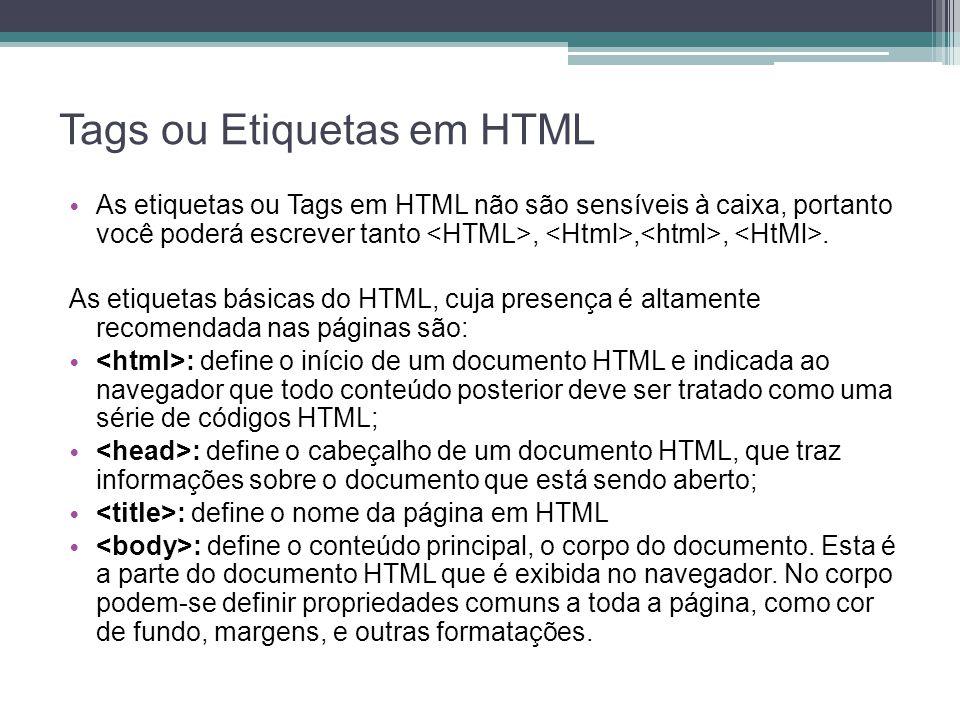 Tags ou Etiquetas em HTML
