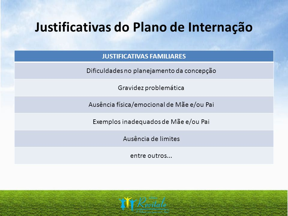 Justificativas do Plano de Internação