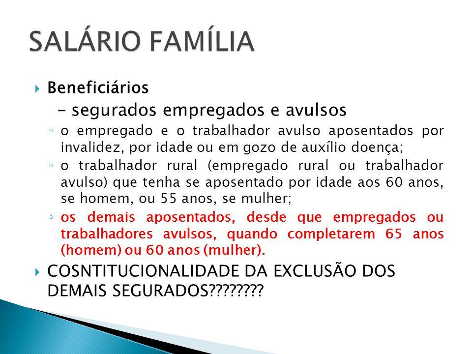 SALÁRIO FAMÍLIA Beneficiários – segurados empregados e avulsos
