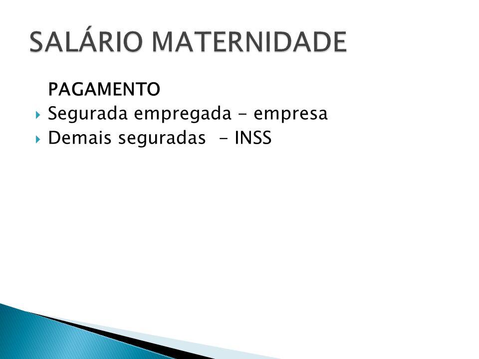 SALÁRIO MATERNIDADE PAGAMENTO Segurada empregada - empresa