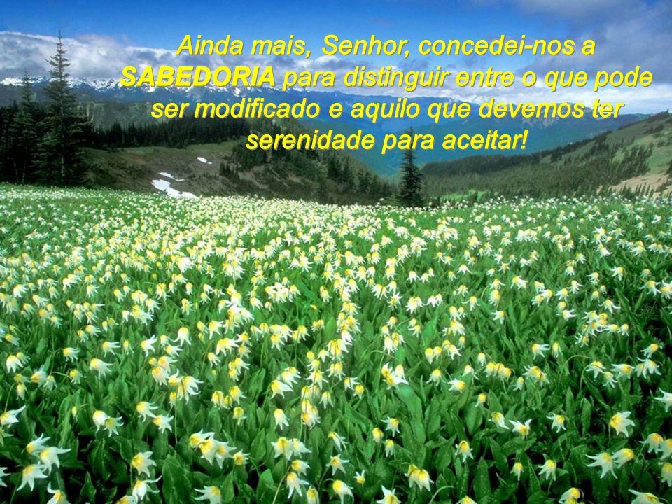 Ainda mais, Senhor, concedei-nos a SABEDORIA para distinguir entre o que pode ser modificado e aquilo que devemos ter serenidade para aceitar!