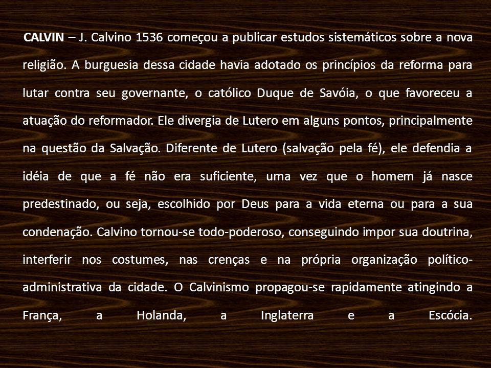 CALVIN – J. Calvino 1536 começou a publicar estudos sistemáticos sobre a nova religião.