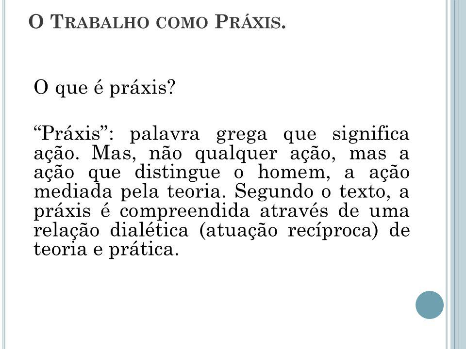 O Trabalho como Práxis. O que é práxis