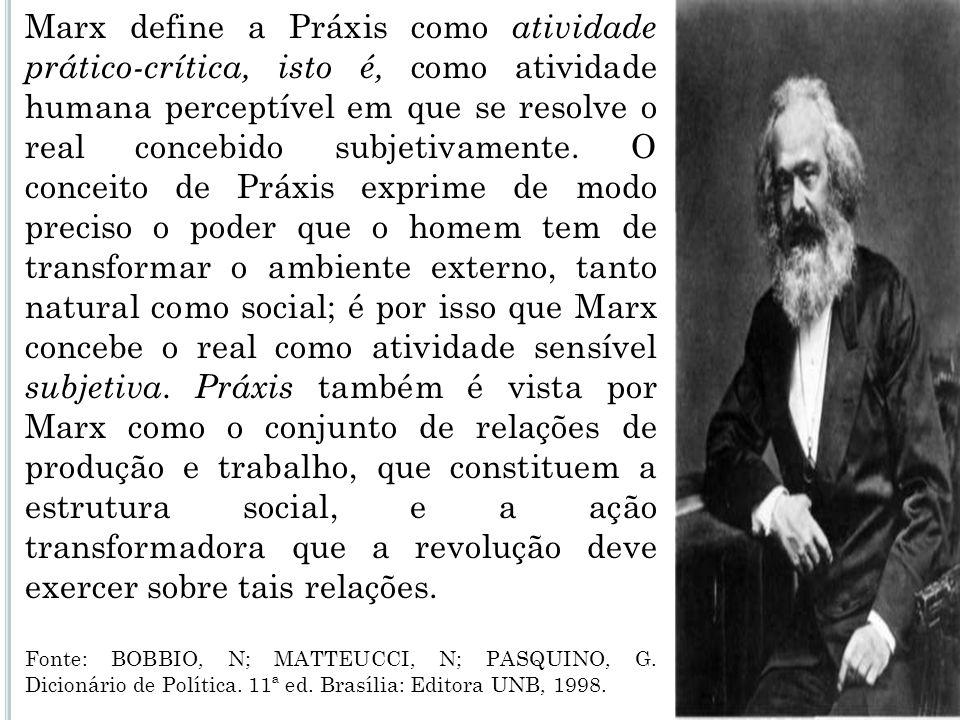 Marx define a Práxis como atividade prático-crítica, isto é, como atividade humana perceptível em que se resolve o real concebido subjetivamente. O conceito de Práxis exprime de modo preciso o poder que o homem tem de transformar o ambiente externo, tanto natural como social; é por isso que Marx concebe o real como atividade sensível subjetiva. Práxis também é vista por Marx como o conjunto de relações de produção e trabalho, que constituem a estrutura social, e a ação transformadora que a revolução deve exercer sobre tais relações.
