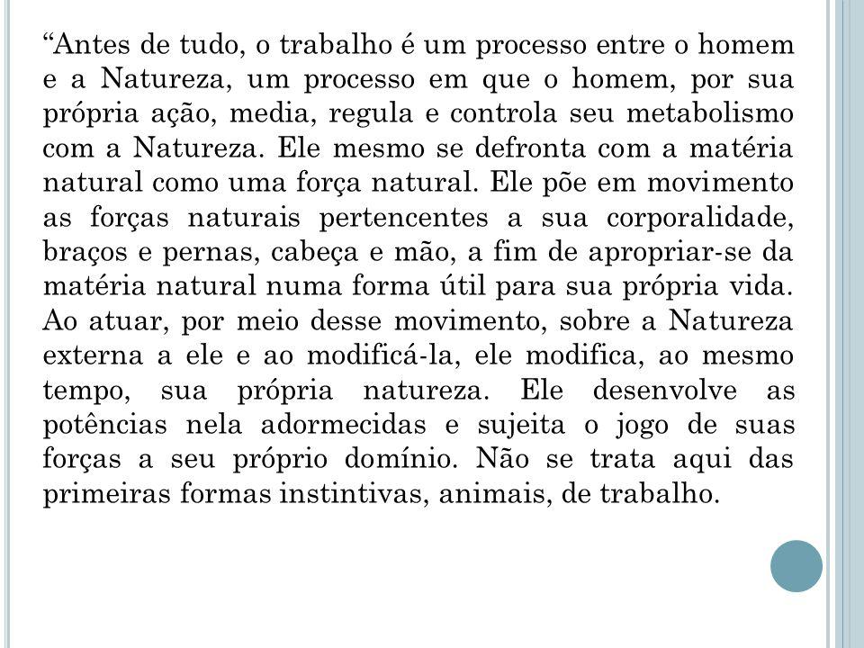 Antes de tudo, o trabalho é um processo entre o homem e a Natureza, um processo em que o homem, por sua própria ação, media, regula e controla seu metabolismo com a Natureza.