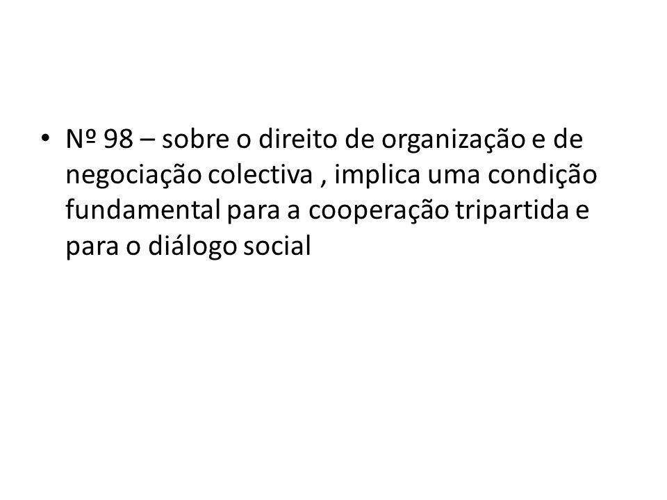 Nº 98 – sobre o direito de organização e de negociação colectiva , implica uma condição fundamental para a cooperação tripartida e para o diálogo social