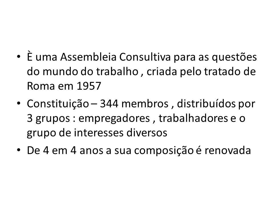 È uma Assembleia Consultiva para as questões do mundo do trabalho , criada pelo tratado de Roma em 1957