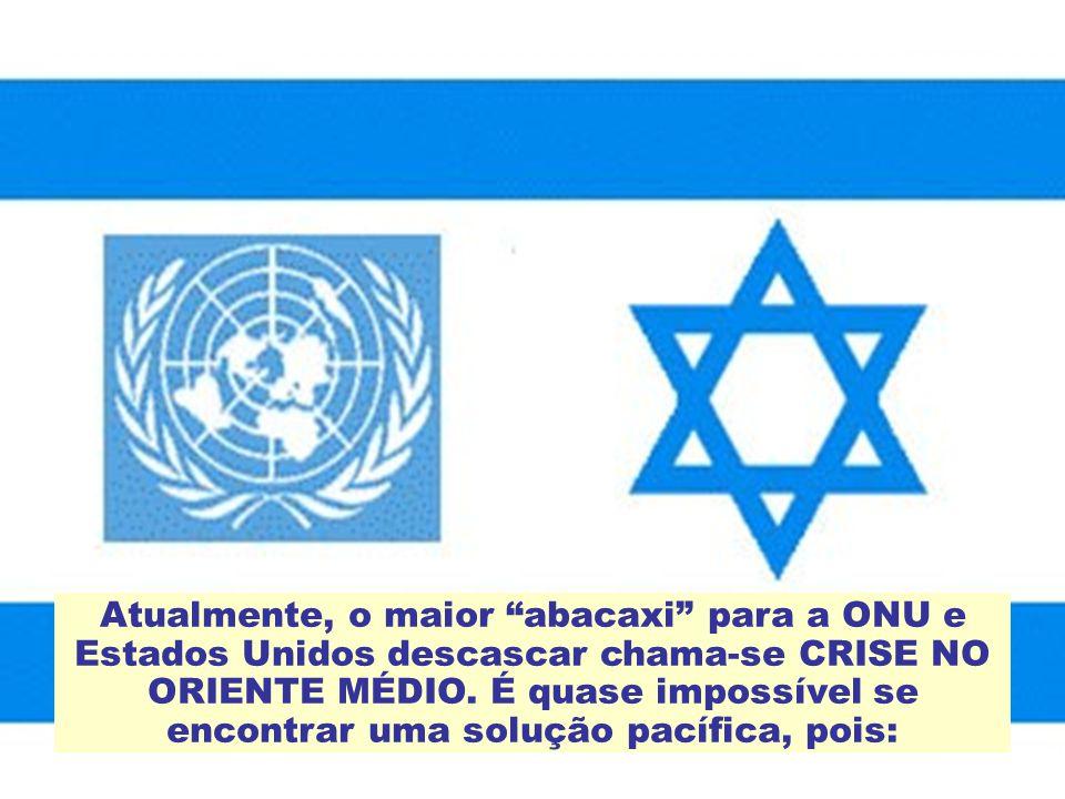 Atualmente, o maior abacaxi para a ONU e Estados Unidos descascar chama-se CRISE NO ORIENTE MÉDIO.