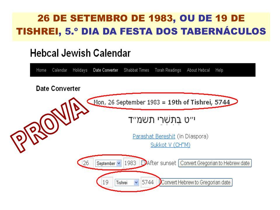 26 DE SETEMBRO DE 1983, OU DE 19 DE TISHREI, 5