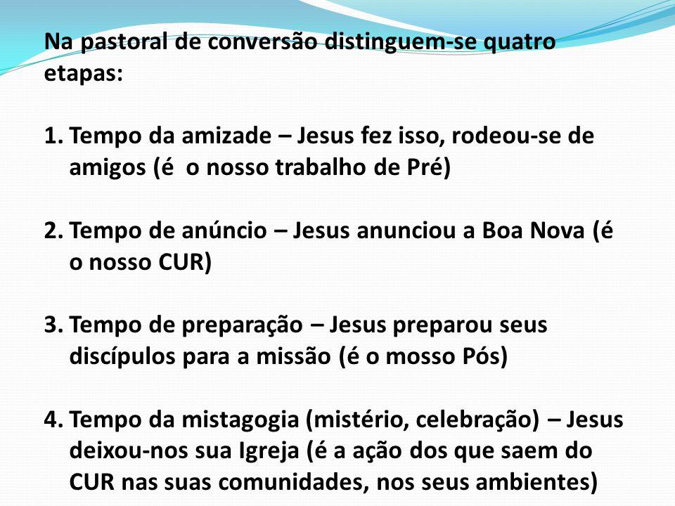 Na pastoral de conversão distinguem-se quatro etapas: