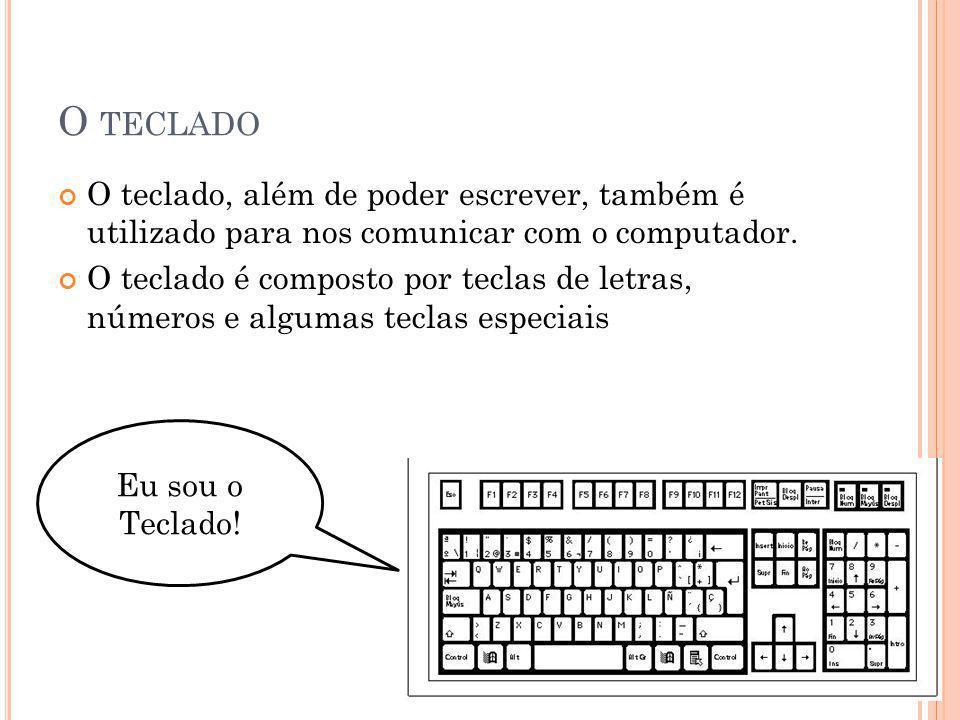 O teclado O teclado, além de poder escrever, também é utilizado para nos comunicar com o computador.