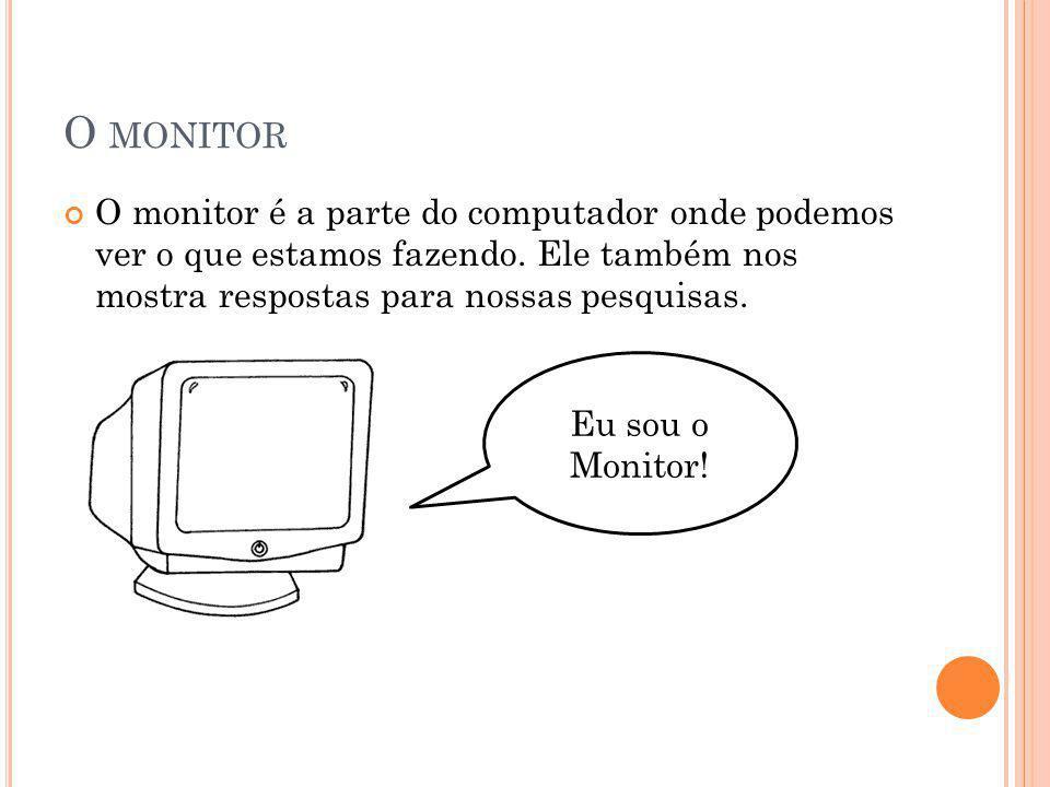 O monitor O monitor é a parte do computador onde podemos ver o que estamos fazendo. Ele também nos mostra respostas para nossas pesquisas.