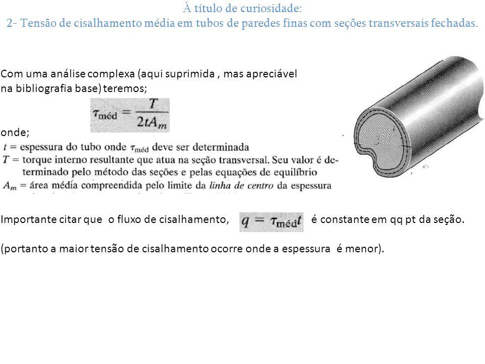 À título de curiosidade: 2- Tensão de cisalhamento média em tubos de paredes finas com seções transversais fechadas.