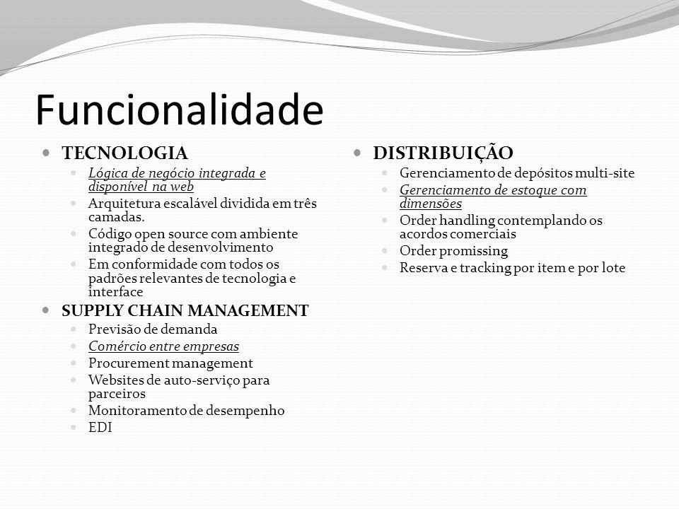 Funcionalidade TECNOLOGIA DISTRIBUIÇÃO SUPPLY CHAIN MANAGEMENT