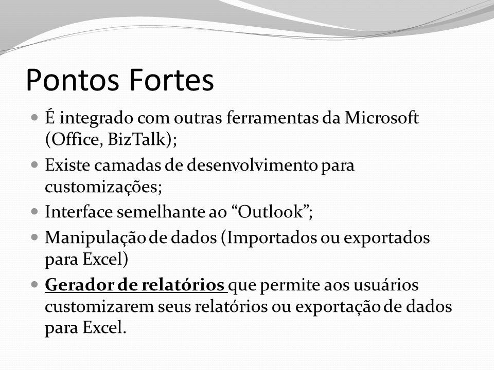 Pontos Fortes É integrado com outras ferramentas da Microsoft (Office, BizTalk); Existe camadas de desenvolvimento para customizações;