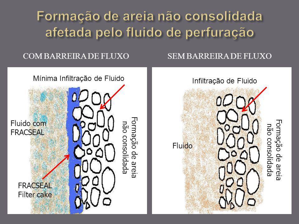 Formação de areia não consolidada afetada pelo fluido de perfuração