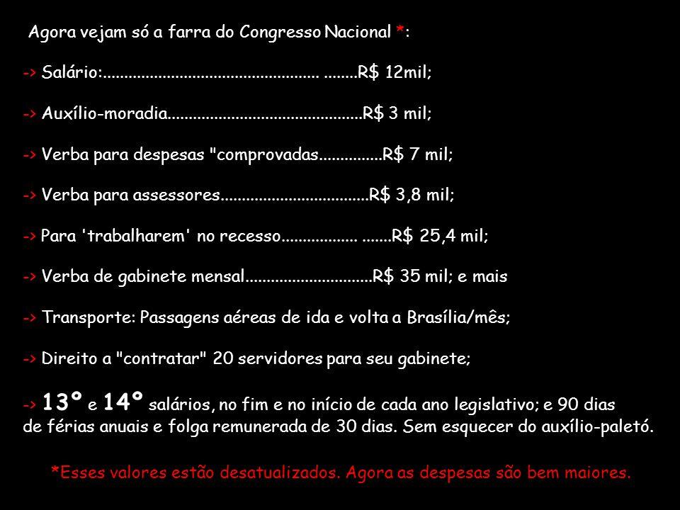 Agora vejam só a farra do Congresso Nacional. : -> Salário:
