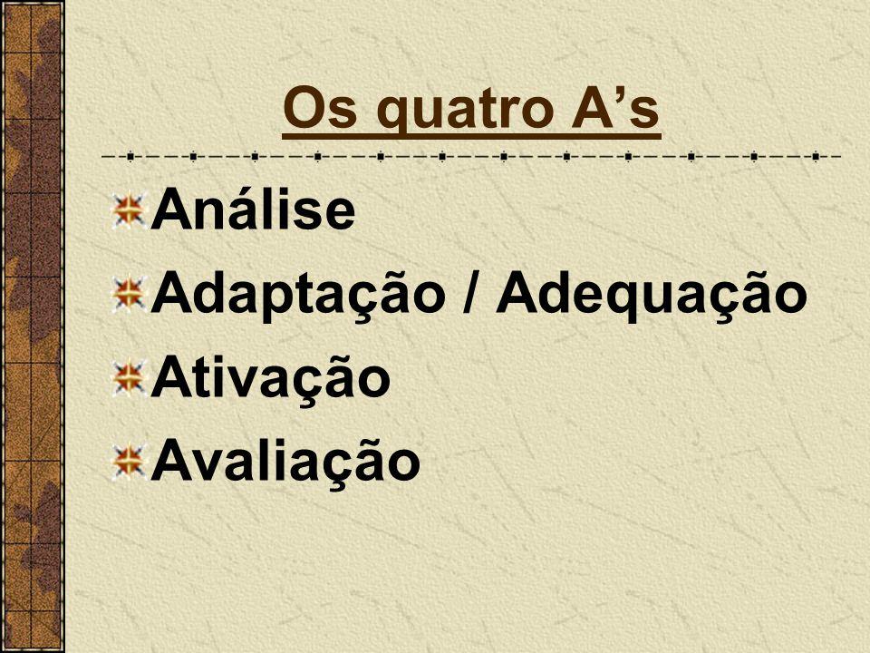 Os quatro A's Análise Adaptação / Adequação Ativação Avaliação