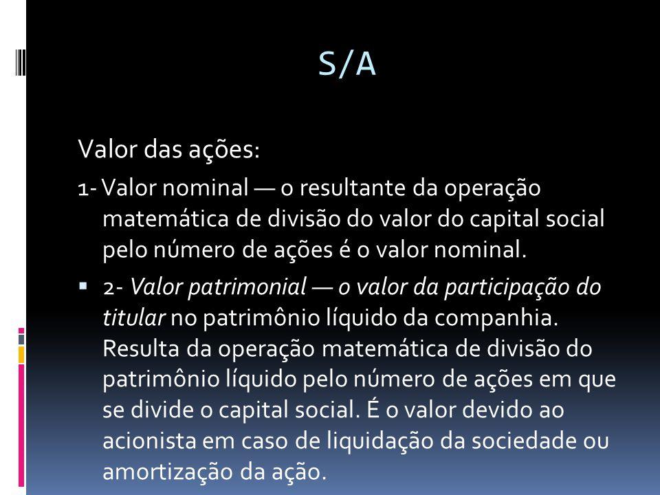 S/A Valor das ações: