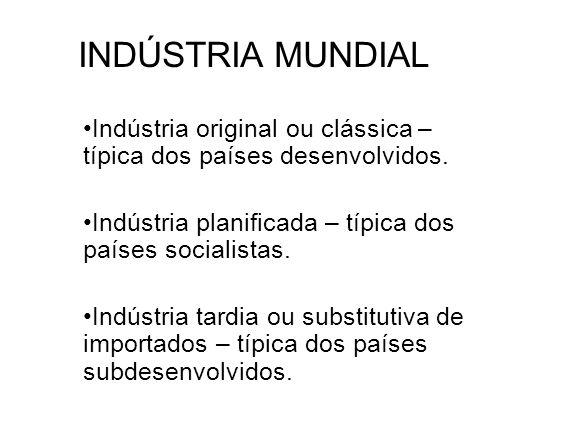INDÚSTRIA MUNDIAL Indústria original ou clássica – típica dos países desenvolvidos. Indústria planificada – típica dos países socialistas.