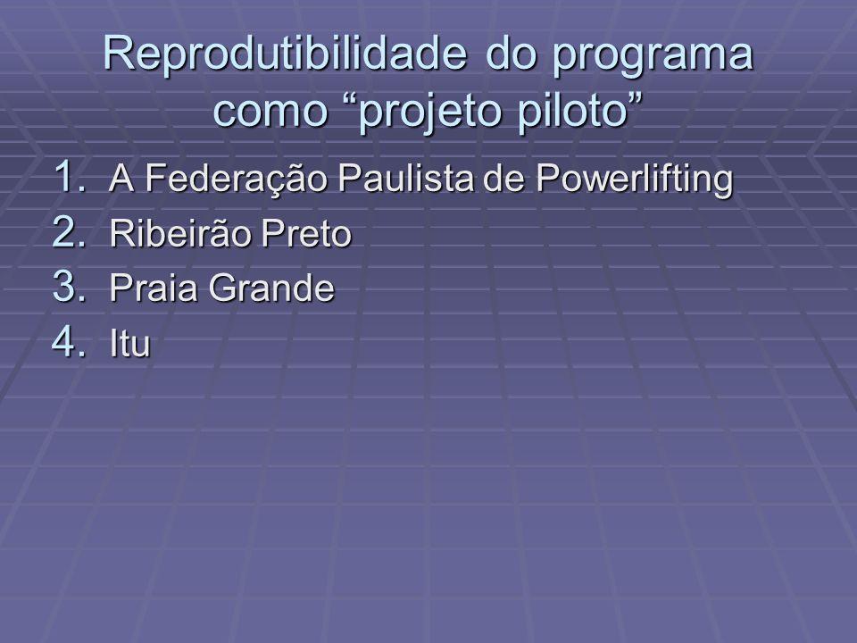 Reprodutibilidade do programa como projeto piloto