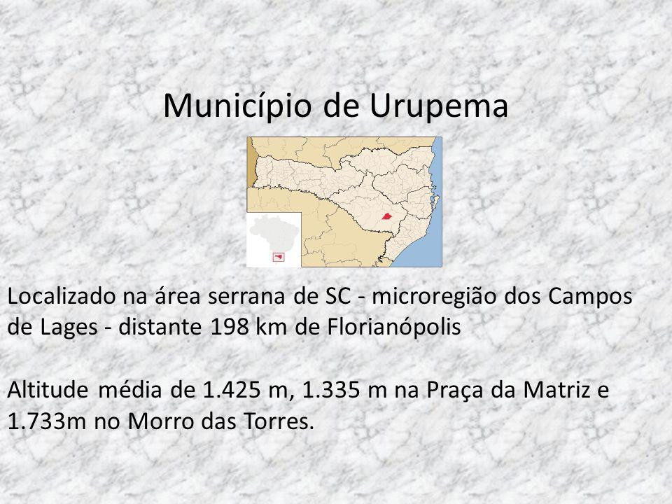 Município de Urupema Localizado na área serrana de SC - microregião dos Campos de Lages - distante 198 km de Florianópolis.
